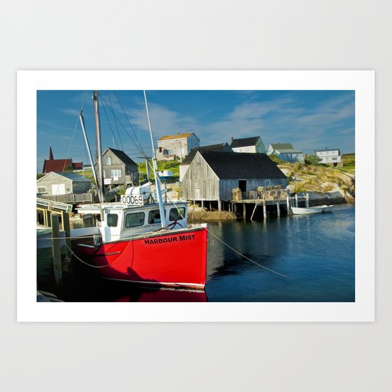 The Boat Harbour Mist in Peggy's Cove Art Print