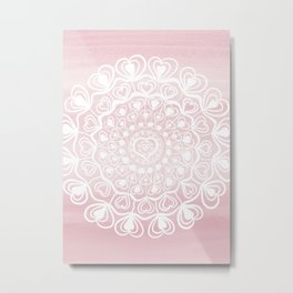 Heart Mandala on Blush Pink Watercolor #1 #decor #art #society6 Metal Print