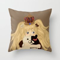 dangan ronpa Throw Pillows featuring junko and monobear by sabrina