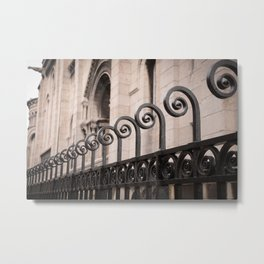 Sacre Coeur Rounded Railing Detail Metal Print