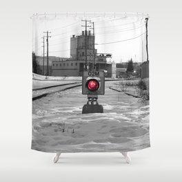Train Track Signal Light Shower Curtain