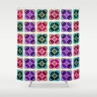 records Shower Curtains featuring Spin The Records by Truly Juel