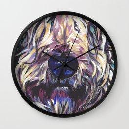 Wheaten Terrier Fun Dog Portrait bright colorful Pop Art Painting by LEA Wall Clock