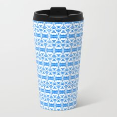 Dividers 02 in Blue over White Metal Travel Mug