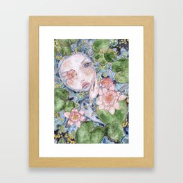 Watercolor doll in the water Framed Art Print
