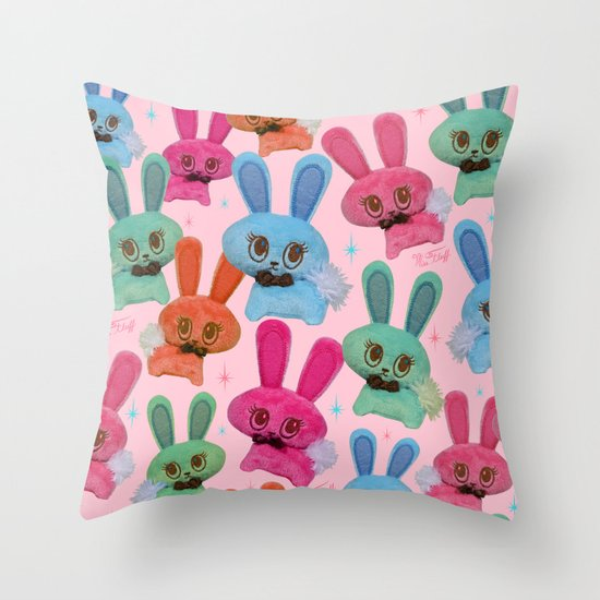 Cute Fluffy Bunnies Throw Pillow