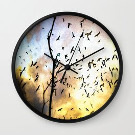 When The Crows Fly Wall Clock