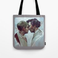 johnlock Tote Bags featuring giving in  by charlotvanh
