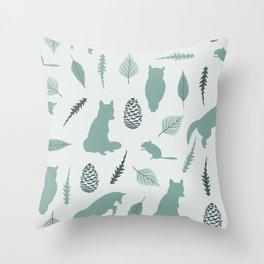 Winter Fox (Moss) Throw Pillow
