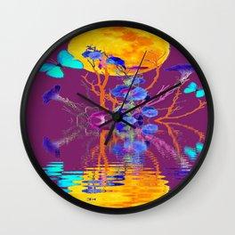 BLUE BUTTERFLIES & MOON WATER GARDEN  REFLECTION Wall Clock