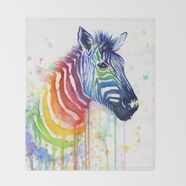 Zebra Rainbow Watercolor Whimsical Animal Throw Blanket