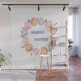 Happy Easter Wreath Colorful Eggs and Easter Flowers on White Wall Mural