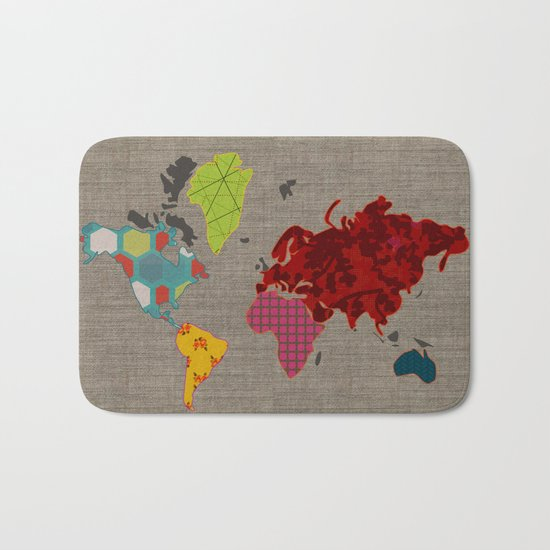 Simi's Map of the World Bath Mat