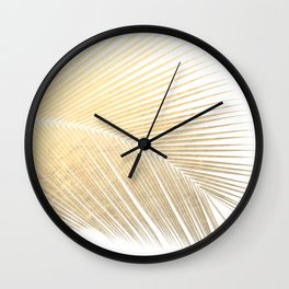 Palm leaf - gold Wall Clock