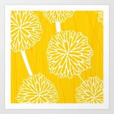 Pom Poms in Yellow by Friztin Art Print