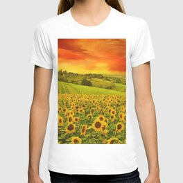 Tuscany Sunflower Fields and Vineyards Red Sunset Landscape T-shirt