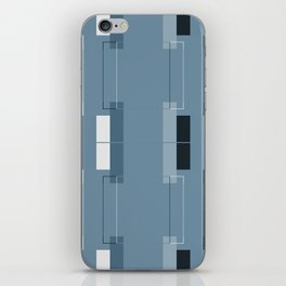 White Hairline Blue Squares iPhone Skin