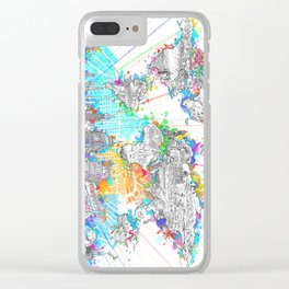 world map city skyline 6 Clear iPhone Case