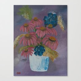 Pink cone flowers in vase Canvas Print