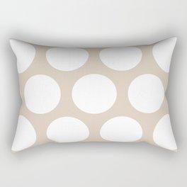 Large Polka Dots: Beige Rectangular Pillow