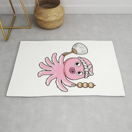 Octopus as Vendor with Feather duster and Skewer Rug