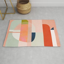 shapes modern mid-century peach pink coral mint Rug