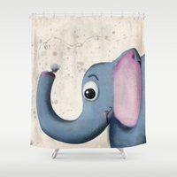 baby elephant Shower Curtains featuring Baby Elephant by David Owen Breeding