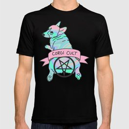 Corgi Cult Witchy 90s Hologram dog print T-shirt