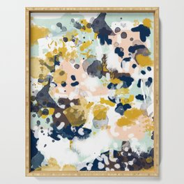 Sloane - Abstract painting in modern fresh colors navy, mint, blush, cream, white, and gold Serving Tray