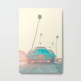 Palm Tree Car Art. Tropical Landscape Art. Sunny Beach Boho Coastal Metal Print
