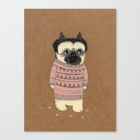 pug Canvas Prints featuring pug by maria elina