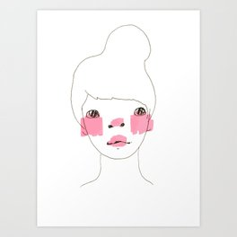 Line Drawing of a Girl in Neon  Art Print