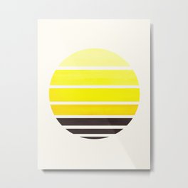Yellow Mid Century Modern Minimalist Circle Round Photo Staggered Sunset Geometric Stripe Design Metal Print