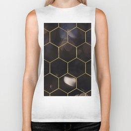 Dark bokeh gold hexagons Biker Tank