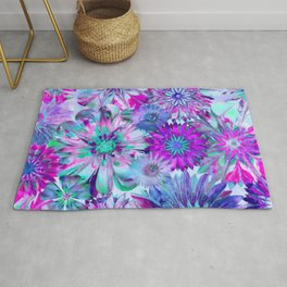 Rivalry of Flowers - blue & pink Rug