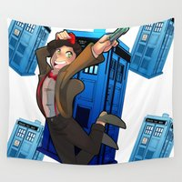 doctor who Wall Tapestries featuring Doctor Who by Lucy Fidelis