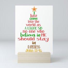 Christmas Tree Shaped Bible Verse John 12:46 Holiday Graphic Mini Art Print