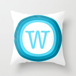 blue letter W Throw Pillow