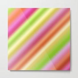 Tutti Fruity Diagonal Striped Pattern Metal Print