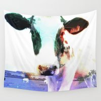 cow Wall Tapestries featuring cow by Sarah Jane Connors