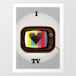 I Love TV vintage poster Art Print