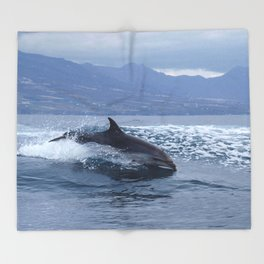 Wild and free bottlenose dolphin Throw Blanket