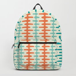 Retro Mid Century Modern Trellis Print Orange and Teal Backpack