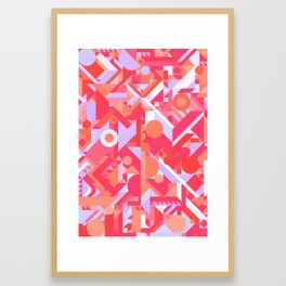 GEOMETRY SHAPES PATTERN PRINT (WARM RED LAVENDER COLOR SCHEME) Framed Art Print