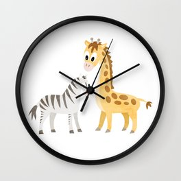 Safari Baby Zebra and Giraffe Wall Clock
