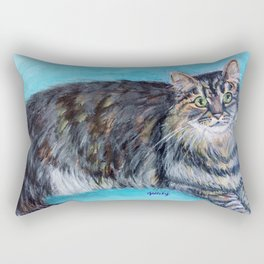 Munchkin tabby cat portrait Rectangular Pillow