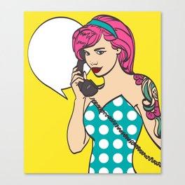Vector colorful art of very beautiful subculture punk, hipster woman with phone, pin up, pop art ill Canvas Print