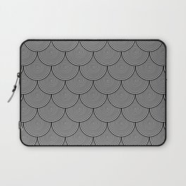 Hypnotic Black and White Circle Scales Pattern - Digital Illustration - Artwork Laptop Sleeve