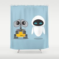 wall e Shower Curtains featuring Wall-E and Eve by Steph Dillon