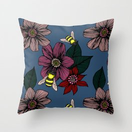 Dark Floral with Bees Throw Pillow
